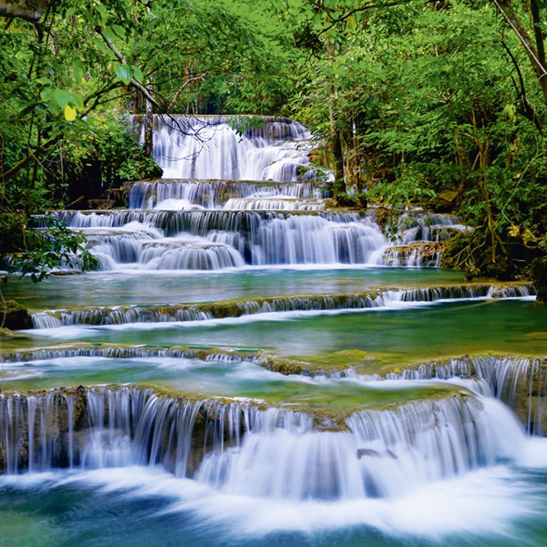 Artland Qualit/ätsbilder I Glasbilder Deko Glas Bilder 60 x 20 cm mehrteilig Landschaften Gew/ässer Wasserfall Foto Gr/ün D8PJ Wald Kanchanaburi Thailand