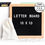 Black Felt Letter Board 10x10 Inches. Changeable Letter Boards Include 300 White Plastic Letters w/ Oak Frame