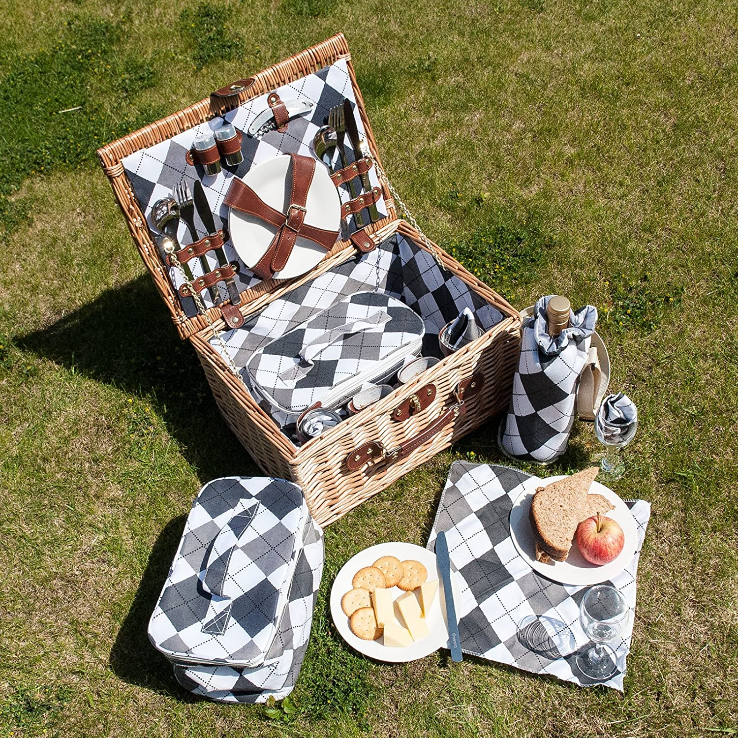 4 Person Picnic Basket Uk : Savisto person luxury wicker picnic basket hamper box