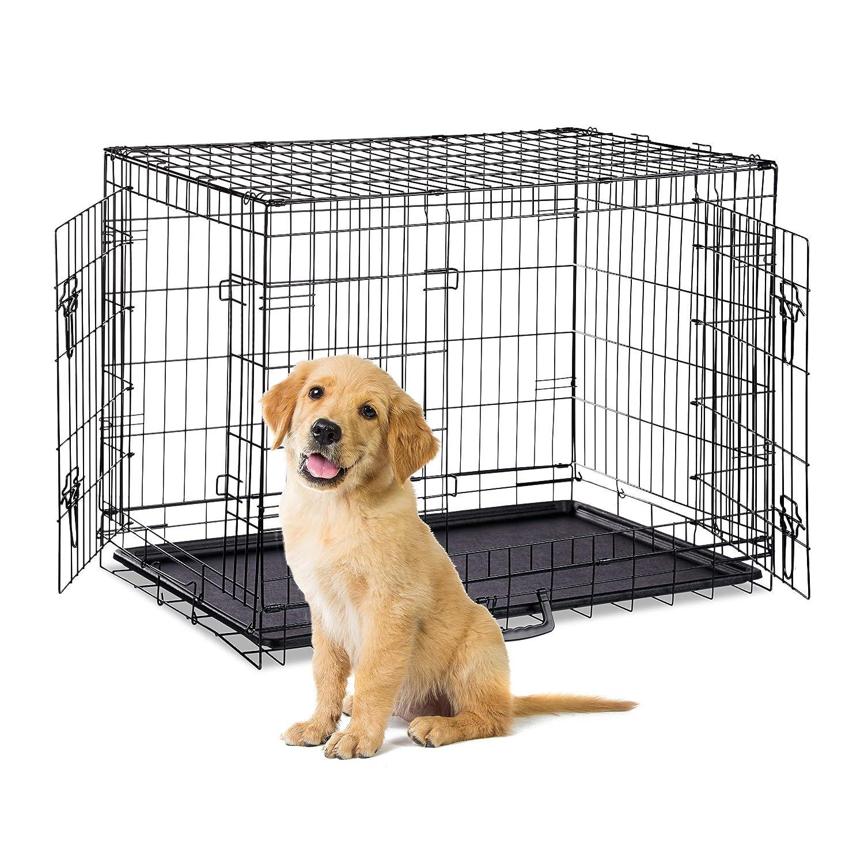Welpenk/äfig Faltbare Hundetransportbox S-XXXL 2 T/üren Schwarz Bodenschale Drahtk/äfig Metall Relaxdays Hundek/äfig