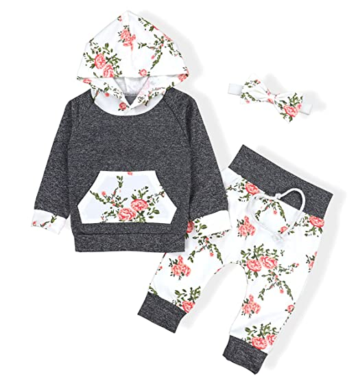 42ae58dde5c5 Amazon.com  Baby Girls Long Sleeve Flowers Hoodie Tops and Pants ...