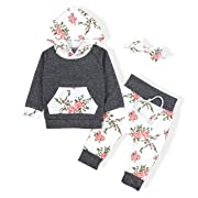 Baby Girls Long Sleeve Flowers Hoodie Tops and Pants Outfit with Pocket Headband(6-12 Months)