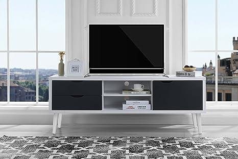 Sofamania Mid-Century Style TV Stand, Living Room Entertainment Center  (White/Dark Grey)