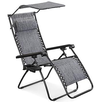 Tremendous Vonhaus Textoline Zero Gravity Chair With Canopy Outdoor Lounger Shade Chair With Drinks Holder Inzonedesignstudio Interior Chair Design Inzonedesignstudiocom