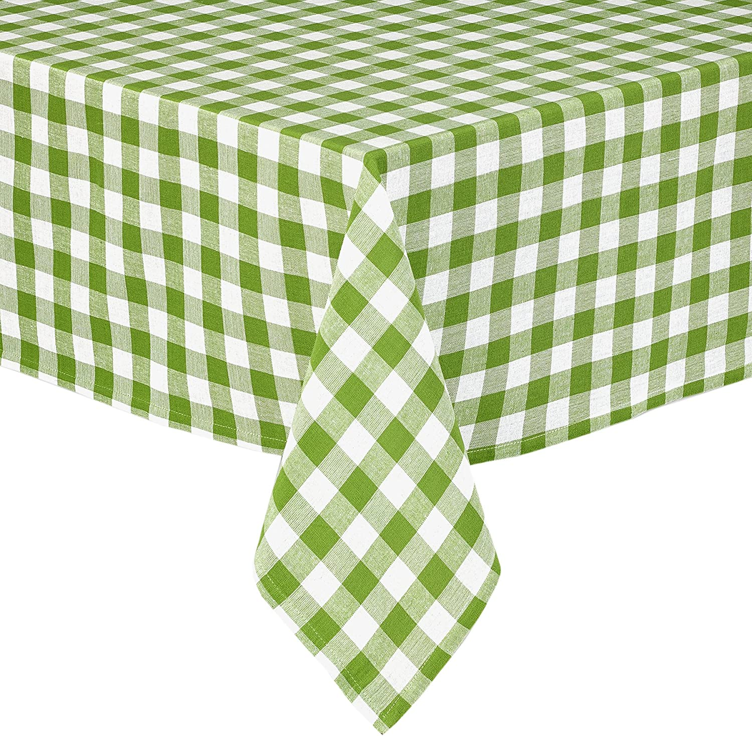Buffalo Gingham Check Indoor/Outdoor Casual Cotton Tablecloth, Buffalo Plaid 100% Cotton Weave Kitchen, Patio and Dining Room Tablecloth 70 Round, Apple Green