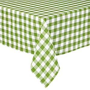 Lintex Buffalo Gingham Check Indoor/Outdoor Casual Cotton Tablecloth, Buffalo Plaid 100% Cotton Weave Kitchen, Patio and Dining Room Tablecloth 60 x 84 Oblong/Rectangular, Apple Green