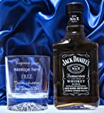 Engraved/Personalised Alaska Crystal Glass & 20cl Jack Daniels in Silk Gift Box 18th/21st/30th/40th/50th/60th/65th/70th Birthday/Best Man