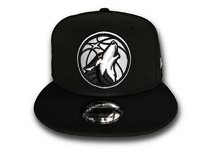 8c873f3d1d3 New Era Minnesota Timberwolves NBA Basic Black   White 9FIFTY ...