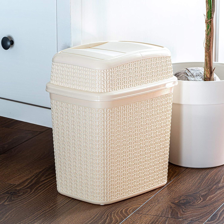 cubo ligero con tapa oscilante cubo de basura cubo de ba/ño cubo interior cubo de basura para ba/ño Cubo de basura de pl/ástico KADAX con tapa basculante cocina