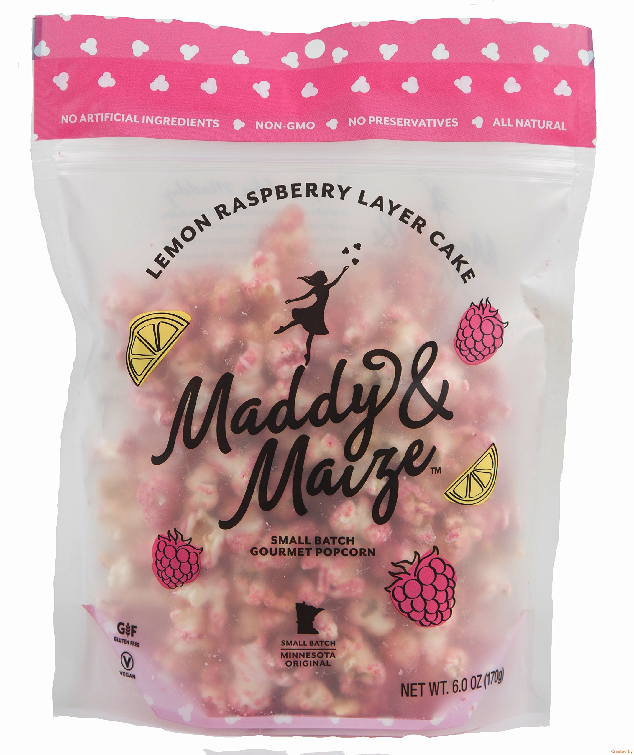 Maddy Maize Lemon Raspberry Layer Cake Gourmet Popcorn