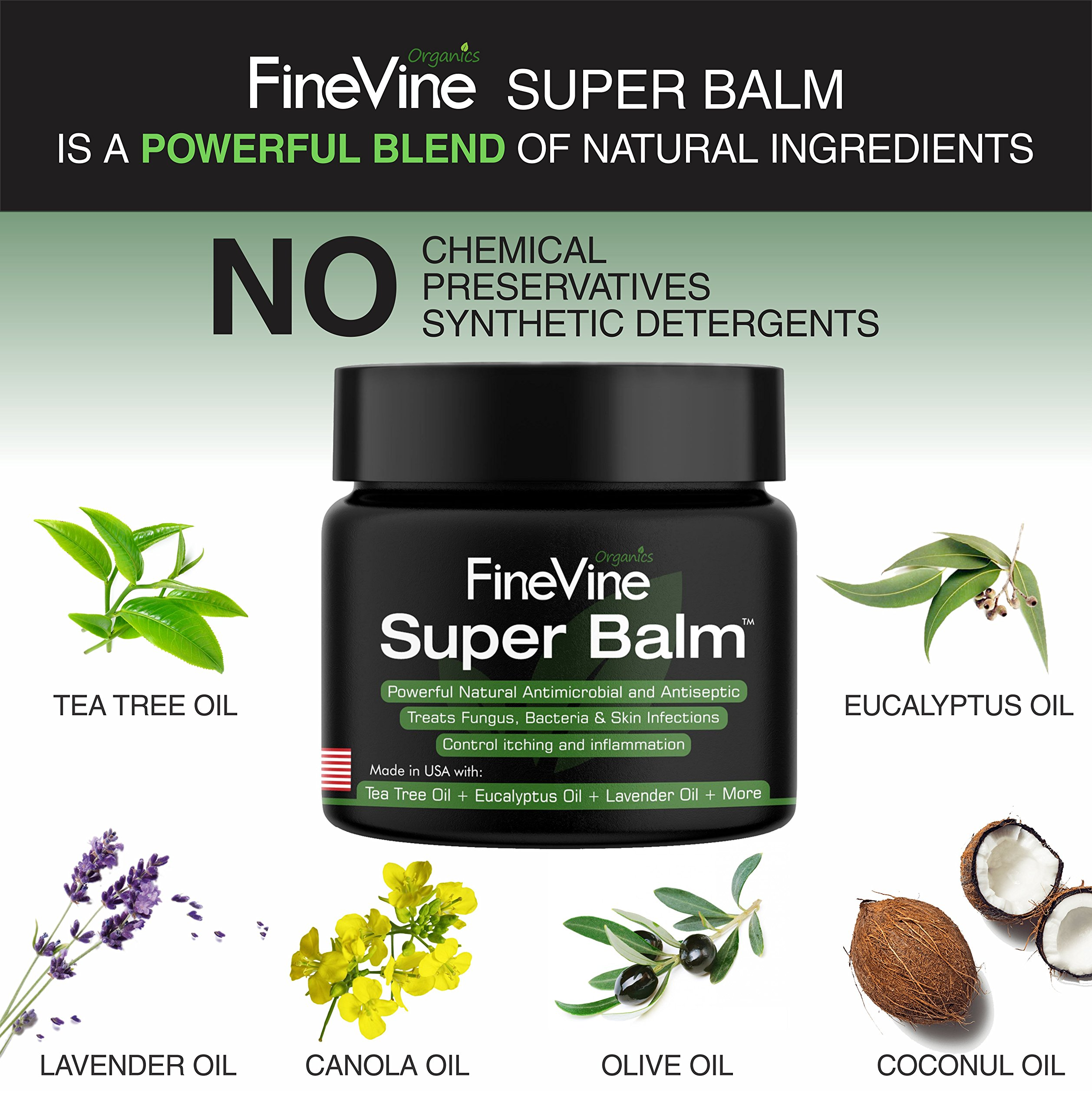 Antifungal Balm - Made in USA - Helps Treat Eczema, Ringworm, Jock Itch, Athletes Foot and Nail Fungal Infections - Best Natural Ointment to Soothes Itchy, Scaly or Cracked Skin. by FineVine (Image #5)