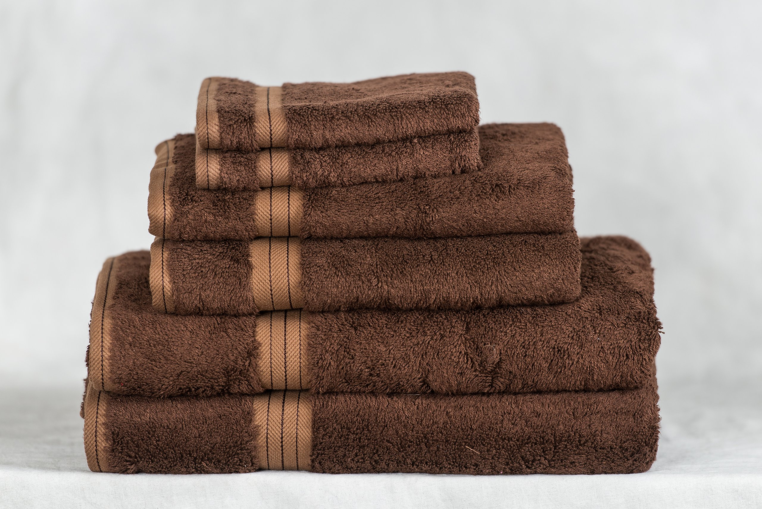 Bamboo Towel Set - Dark Chocolate Color - 6 Piece Set - Available in 20 Colors