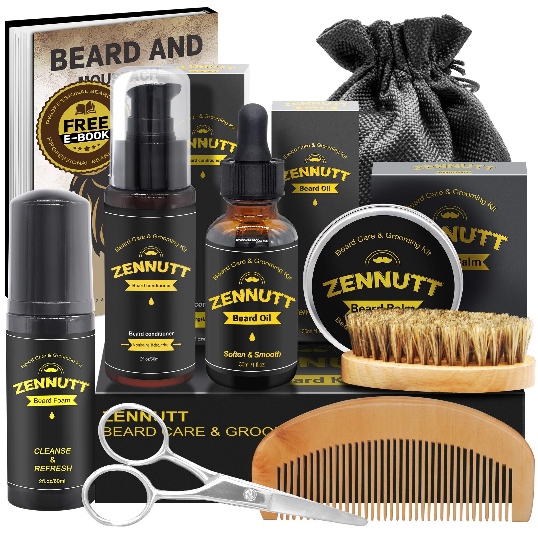 Beard Kit,Beard Growth Care Grooming Kit w/Beard Foam/Shampoo,Beard Conditioner,Beard Growth Oil,Beard Balm,Beard Brush,Beard Comb,Scissors,Beard Shaper,Best Beard Mens Gifts for Men Dad Him Christmas