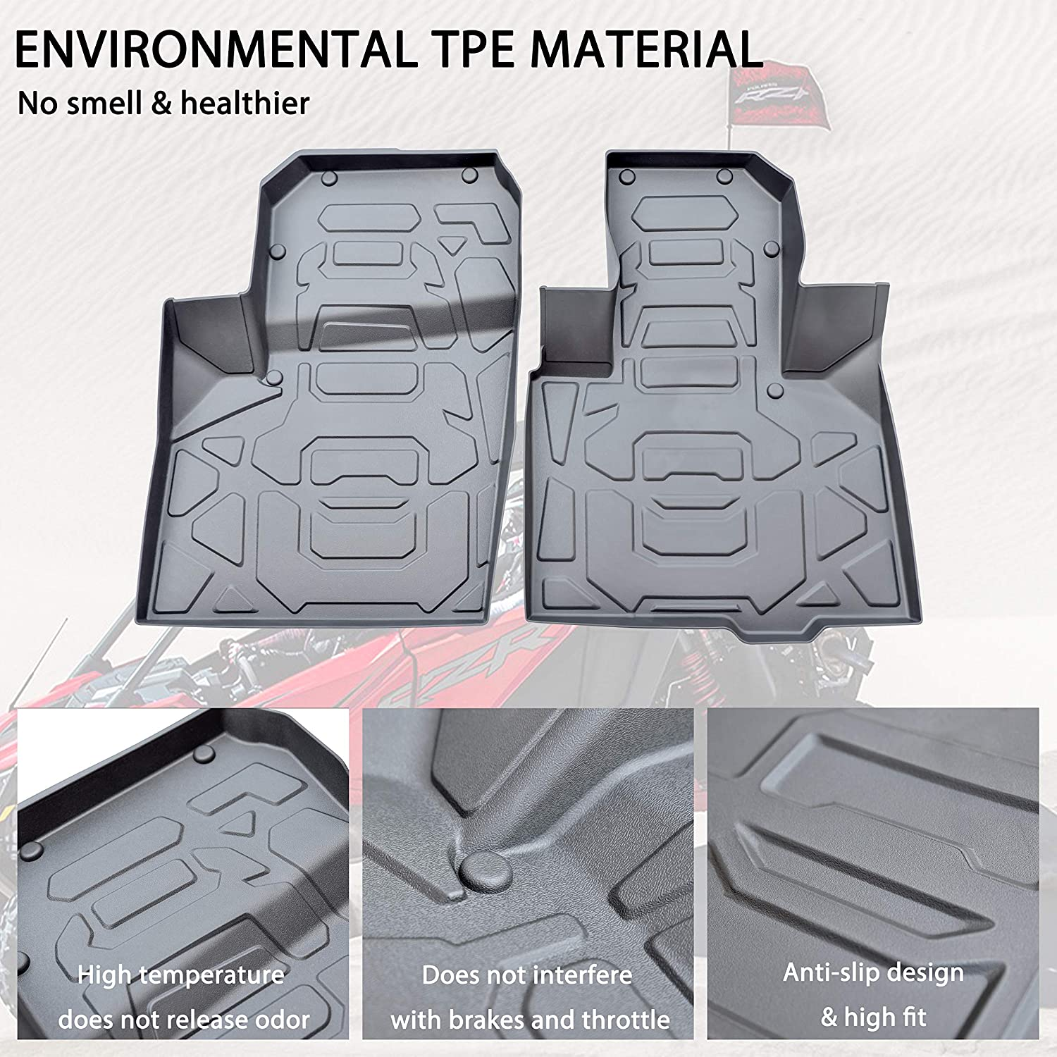 Front Row Floor Liners All Weather Protection Anti-Slip Slush Mats for 2020 2021 Polaris RZR PRO XP Accessories SAUTVS RZR PRO TPE Front Floor Mats