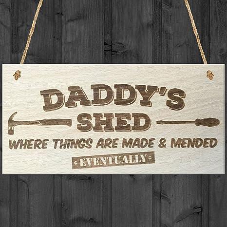 Rojo Océano Daddys Cobertizo donde las cosas están hechas & mended eventualmente – Placa para colgar