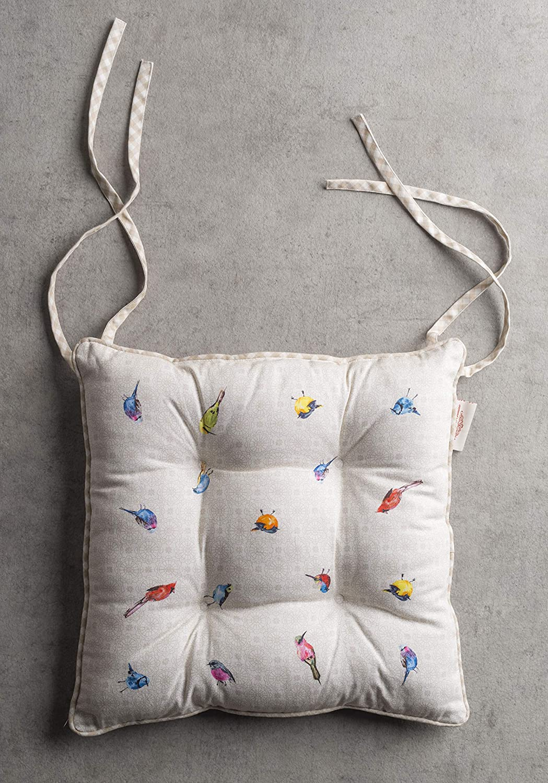 Maison d Hermine Birdies on Wire Satz von 2 Sitzkissen 40 cm x 40 cm