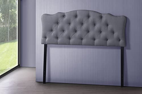 Baxton Studio Wholesale Interiors Rita Modern and Contemporary Fabric Upholstered Button-Tufted Scalloped Headboard