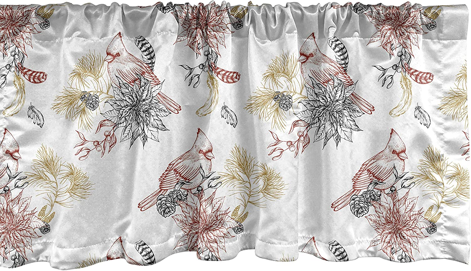 Lunarable Cardinal Bird Window Valance, Creative Vintage Pattern with Leaves Plants Pine Cones, Curtain Valance for Kitchen Bedroom Decor with Rod Pocket, 54