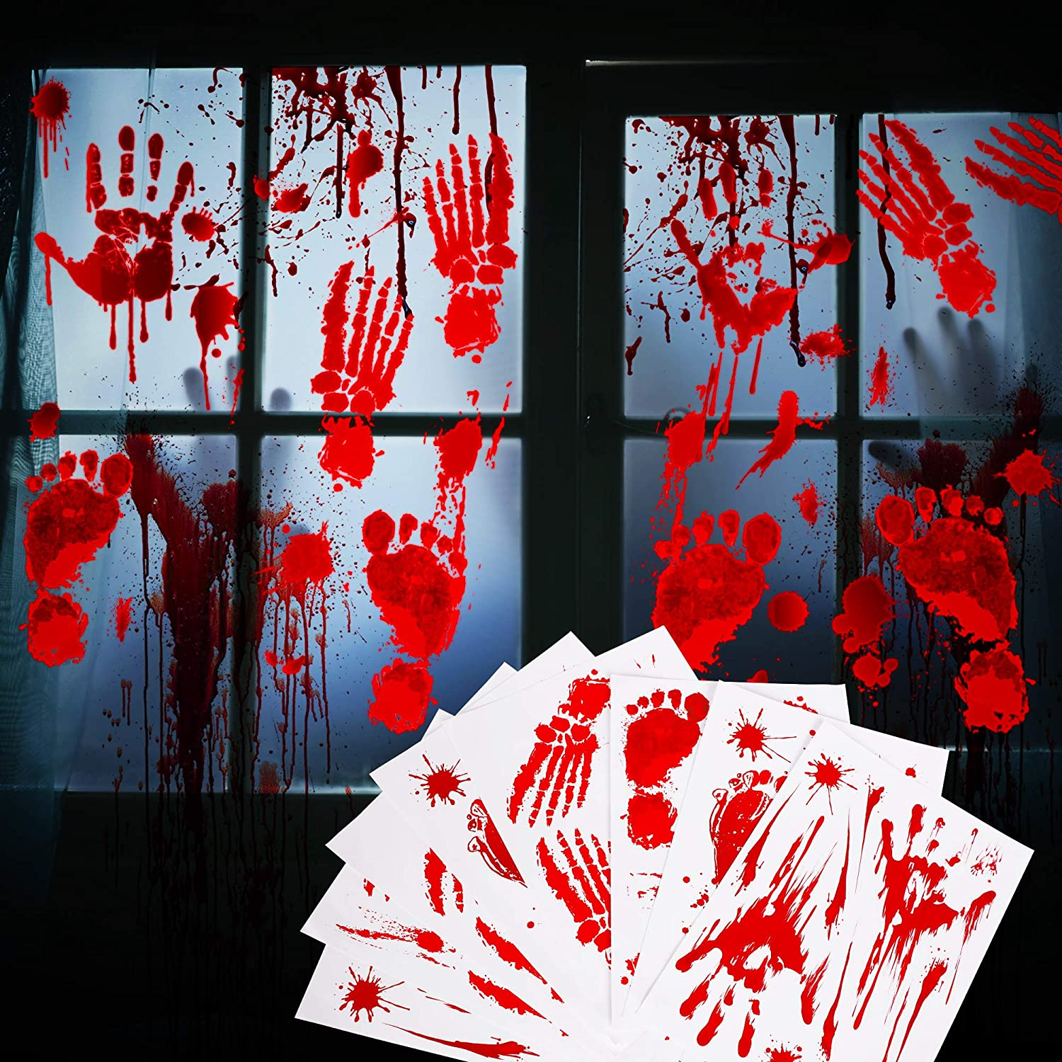 Decorlife Bloody Halloween Window Decorations Clearance, Footprint and Handprint Clings, Spooky Halloween Party Stickers, Floor Mirror Decor - 62 PCS