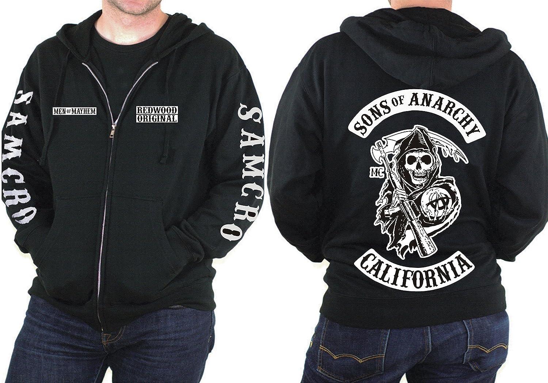 Sons Of Anarchy SAMCRO Reaper Logo Men/'s Black Zipper Hoodie Hoody Jacket S-XXXL