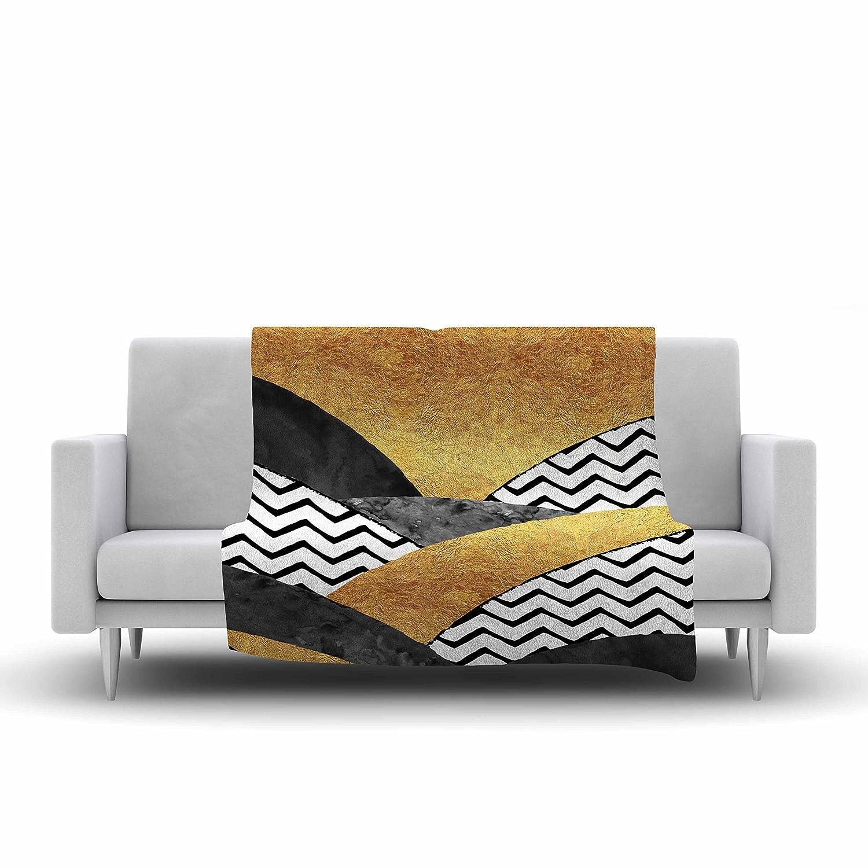 Kess InHouse Zara Martina Mansen Chevron Hills Gold Black White Fleece Throw Blanket 80 X 60 80 by 60-Inch