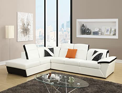 Amazon.com: Major-Q Black and White Sectional Sofa, 51625 ...