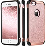 iPhone 6 Case, iPhone 6S Case, BENTOBEN Glitter Luxury 2 in 1 Ultra Slim Hard Laminated with Sparkly Shiny Faux Leather Chrome Shockproof Protective Case for iPhone 6/iPhone 6S (4.7 inch), Rose Gold