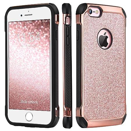 BENTOBEN iPhone 6 Hülle, iPhone 6s Hülle, Glitzer Handyhülle iPhone 6 6s Schutzhülle stoßfest Hybrid PC Schale mit Kunstleder