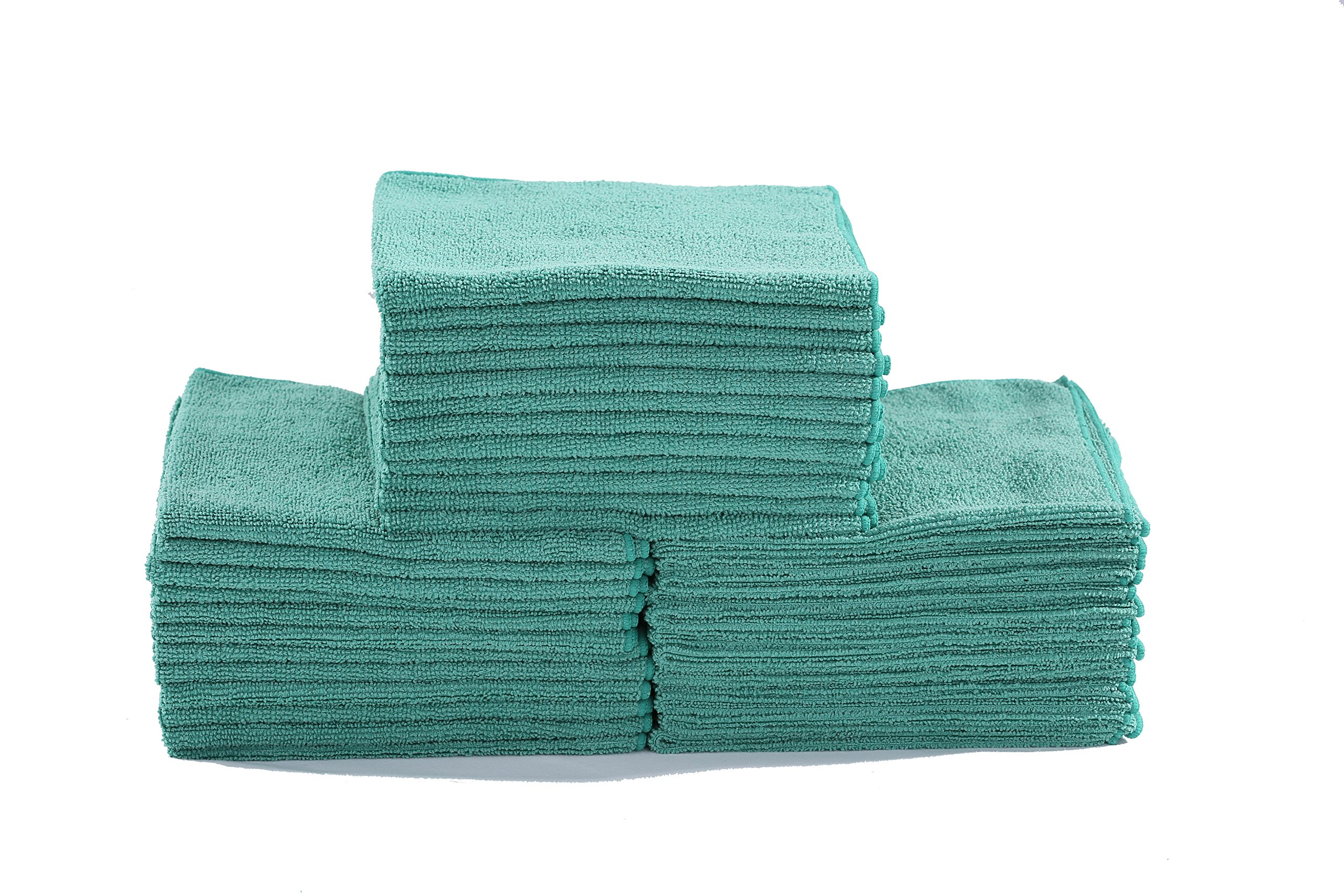Dri Professional Extra-Thick Microfiber Cleaning Cloth - 16 in x 16 in - 72 Pack (Green) - Ultra-absorbent, quick drying, chemical-free cleaning