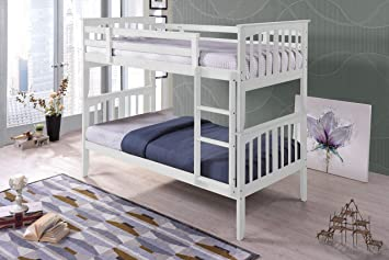 Royale Comfort Palermo Wooden Kids Bunk Bed White Shaker Style