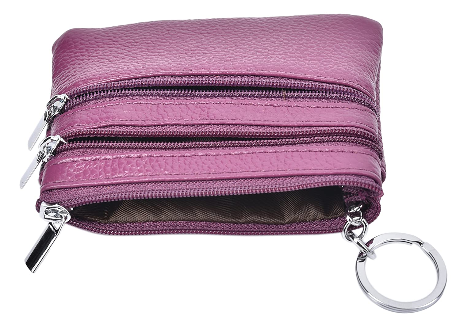 Outrip Womens Mini Coin Purse Wallet Genuine Leather Zipper Pouch with Key Ring Black