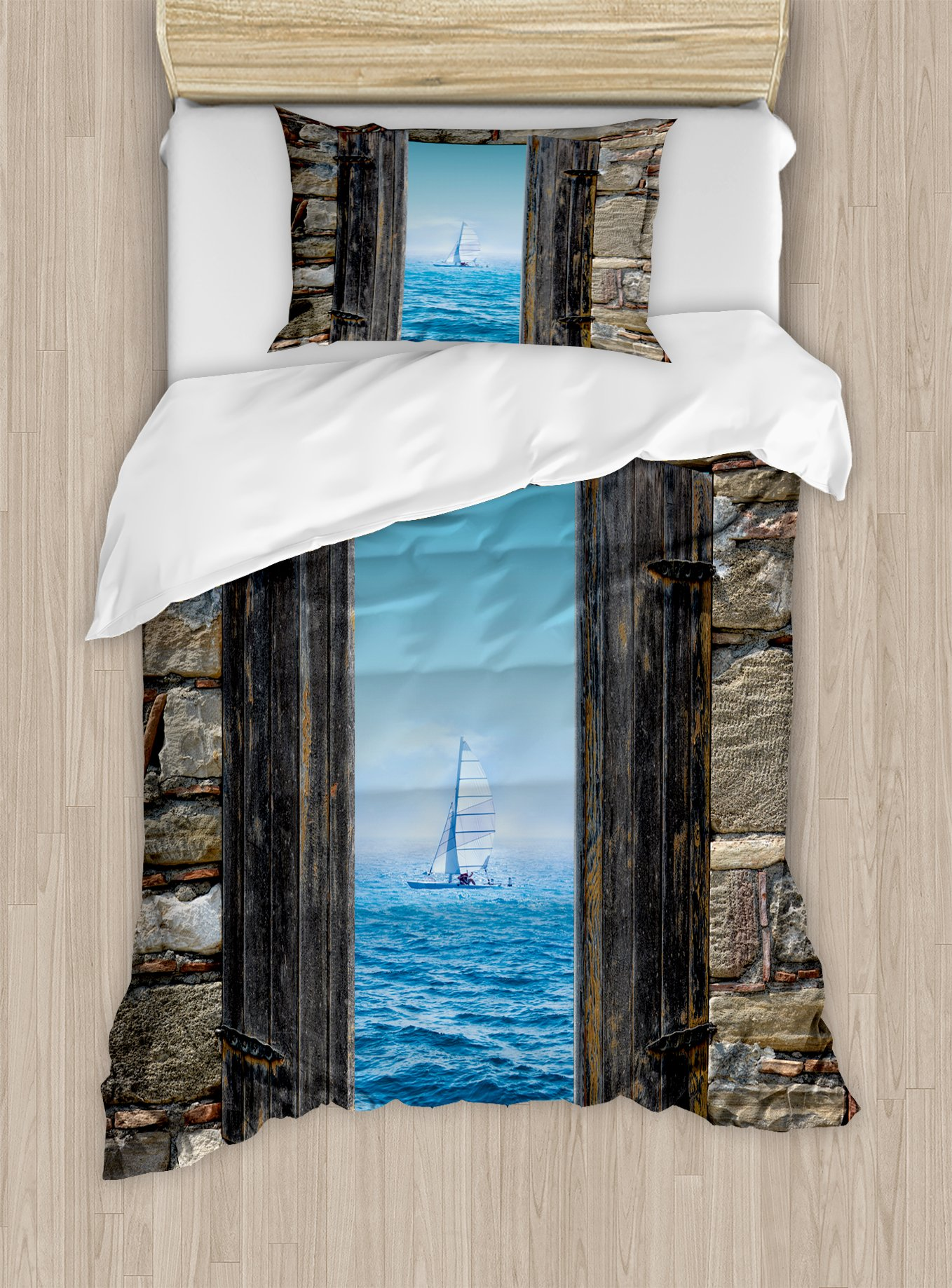 Ambesonne Nautical Duvet Cover Set Twin Size, Image of A Sailing Boat from Stone Window Narrow Perspective Idyllic Mediterranean, Decorative 2 Piece Bedding Set with 1 Pillow Sham, Grey Blue