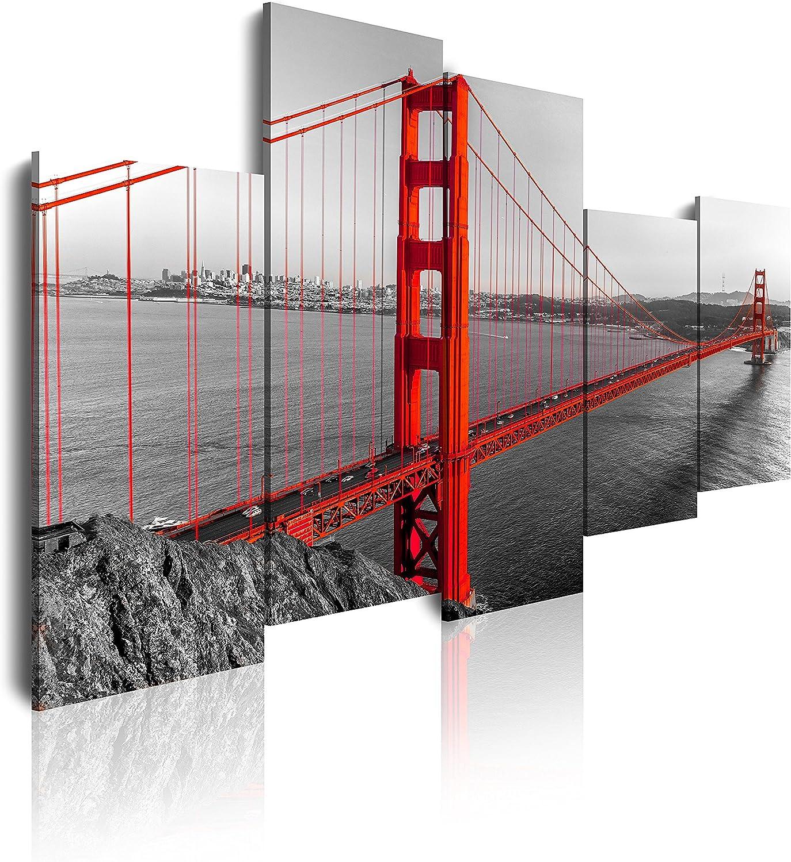 DekoArte Cuadros Modernos Impresión de Imagen Artística Digitalizada, Lienzo Decorativo para Tu Salón o Dormitorio, Estilo Ciudades EEUU Golden Gate San Francisco, Multi Rojos, 5 piezas (150x100x3cm)