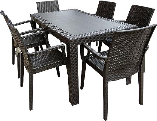 Set Da Giardino In Resina.Dimaplast2000 Amz004 Set Garden Top Tavolo E 6 Poltrone In Resina