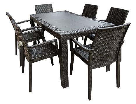 Tavoli Per Esterno In Resina.Dimaplast2000 Amz004 Set Garden Top Tavolo E 6 Poltrone In Resina