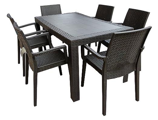 Juego de jardín con mesa y sillones en resina efecto ratán ...