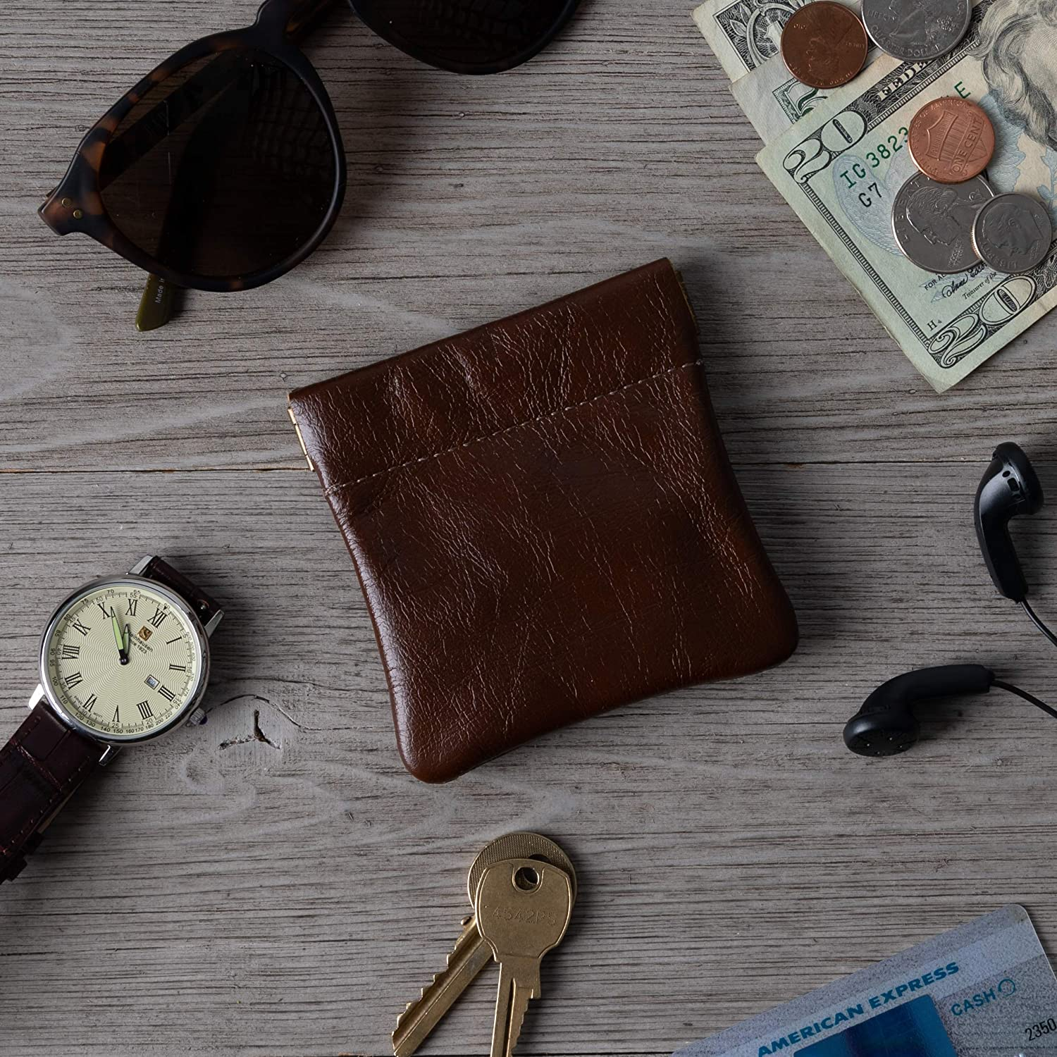 for Men//Woman Pouch Size 3.5 x 3.5 Change Holder Genuine Leather Squeeze Coin Purse Made in U.S.A