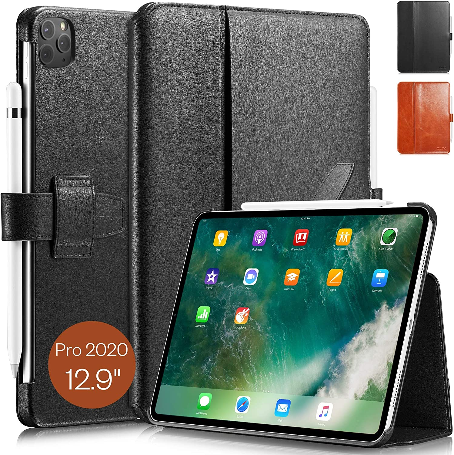 """KAVAJ Case Leather Cover London Works with Apple iPad Pro 12.9"""" 2020 Black Genuine Cowhide Leather with Pencil Holder Supports Apple Pencil Slim Fit Smart Folio"""