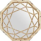 Amazon Brand – Stone & Beam Vintage-Look Octagonal Hanging Wall Mirror Decor, 25.5 Inch Height, Antique White