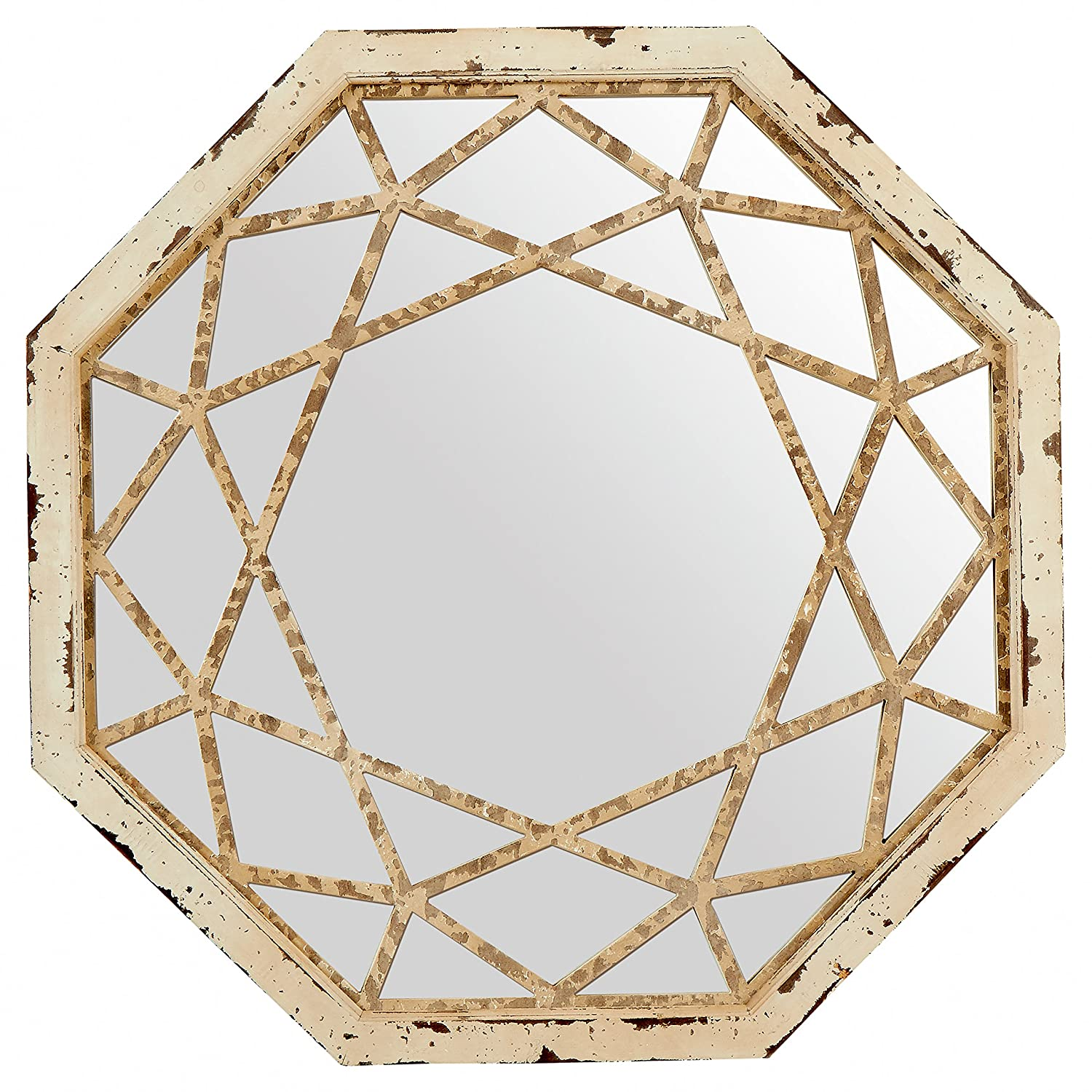 "Stone & Beam Vintage-Look Octagonal Mirror, 25.5""H, Antique White"