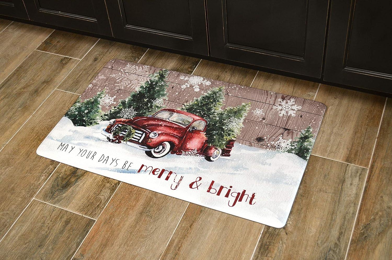 Christmas Llama 20x32 Holiday Themed Cushioned Anti Fatigue Kitchen Mat Comfort Mats Com Home Kitchen