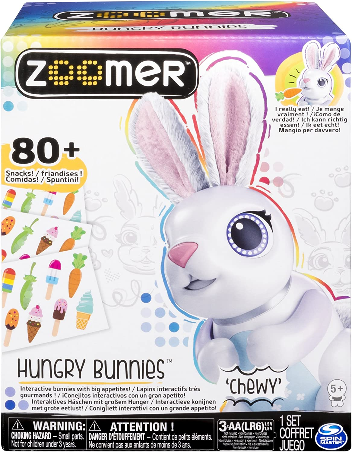 Interactive Bunnies W//Big Appetites Shreddy Zoomer Hungry Bunnies 5+