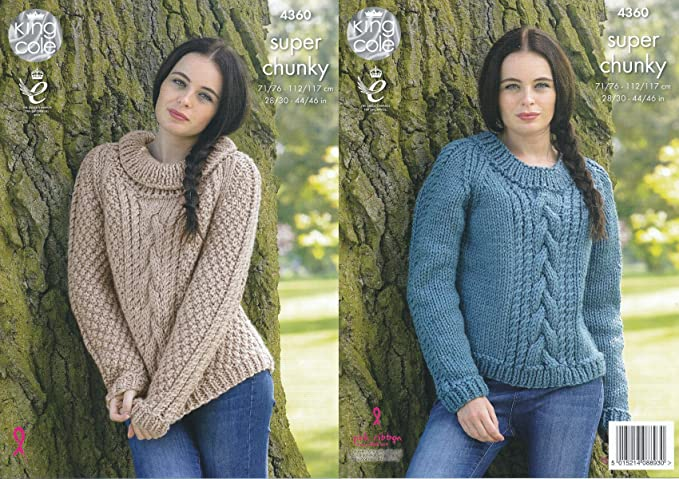 King Cole Ladies Super Chunky Knitting Pattern Round & Polo Neck Cable Knit Sweaters (4360)