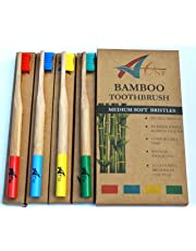Premium Bamboo Rainbow Toothbrushes   Beautifully Crafted with Medium Bristles   BPA Free   Biodegradable   Eco Friendly   Dental Care for Entire Family   Pack of 4 in Rainbow Colours