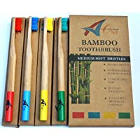 Premium Bamboo Toothbrushes | Natural Organic Toothbrushes in Rainbow Colours | Medium Firm Bristles | Biodegradable | 100% Recyclable Packaging | Eco Toothbrush Kids & Adults
