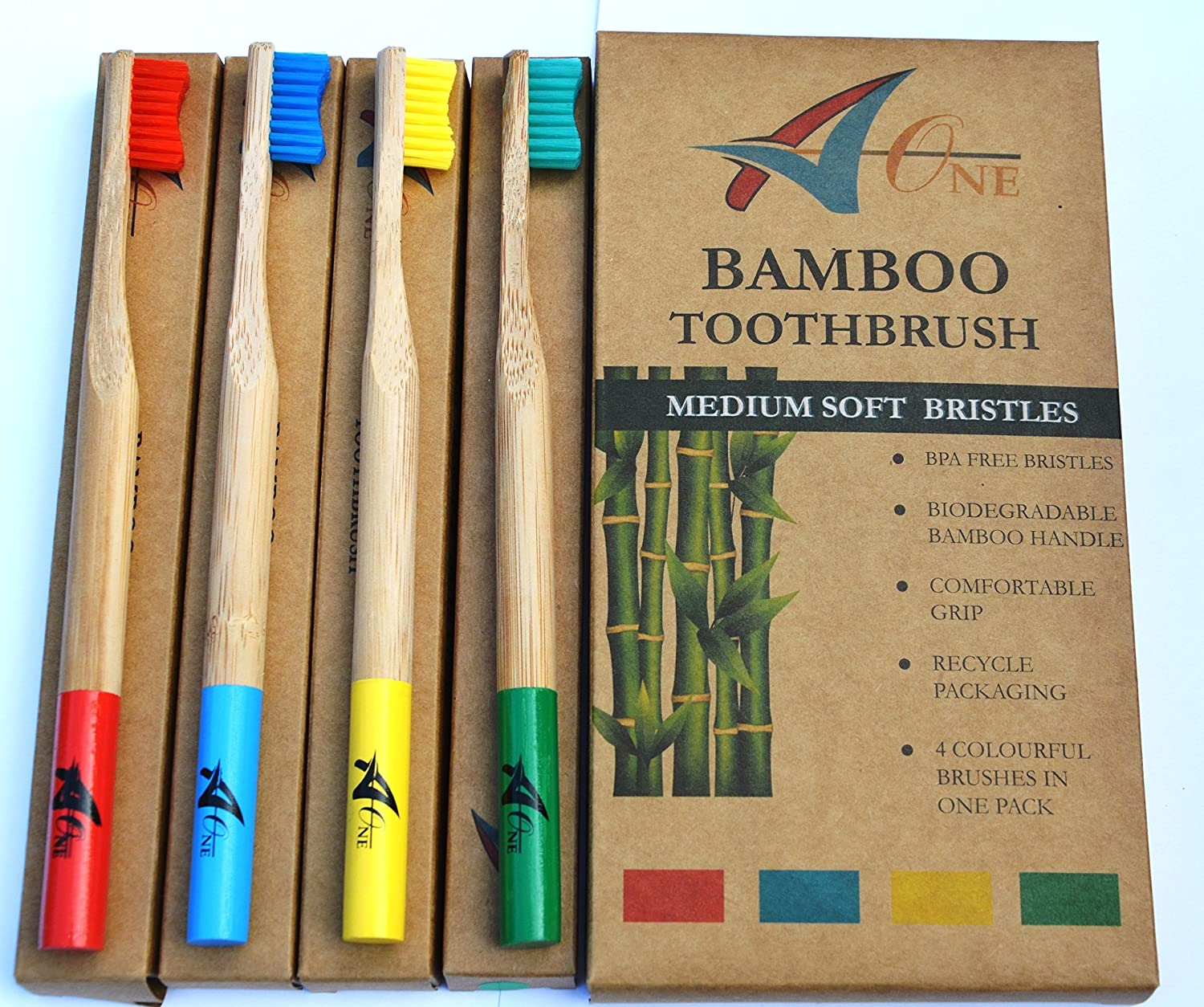 Premium Bamboo Toothbrushes. Meticulously Crafted With Medium Bristles – Bpa Free, Biodegradable, Dental Care For Entire Family, Pack Of 4, In Rainbow Colours. Also Available In White And Charcoal Bristles. by Amazon