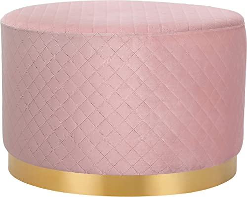 BIRDROCK HOME Round Pink Velvet Ottoman Foot Stool with Lattice Design – Soft Large Padded Stool Gold Trim Coffee Table – Great for The Living Room or Bedroom Decorative Furniture Foot Rest
