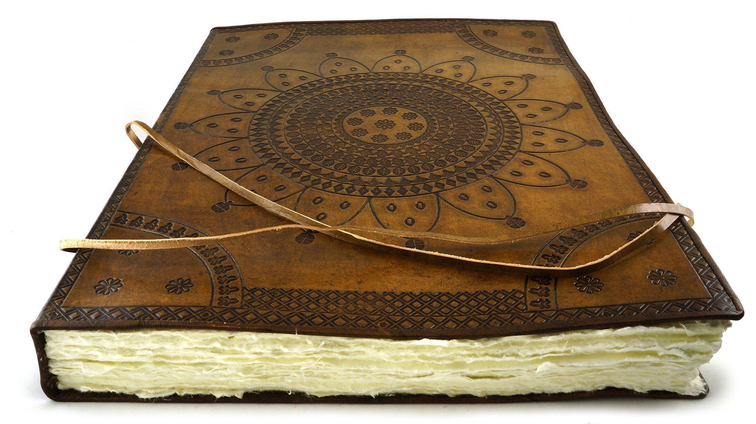 Largest Handmade Leather Artist Sketchbook Journal 18'' x 14'' Hand Torn Deckle Paper 200 Sheet by Terra Negra Studio