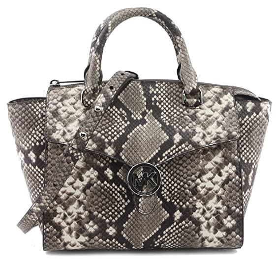 38151007b150 MICHAEL Michael Kors Women's Vanna Medium Satchel Handbag Embossed Natural  Leather 35T7SV3S2E, Multi