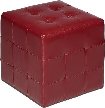 Espresso Brown Cortesi Home Furnishings Braque Cube Ottoman in Vinyl